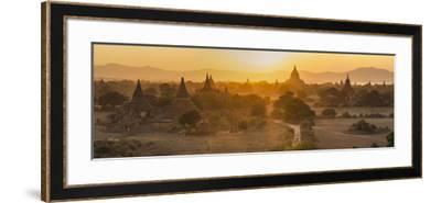 Ancient Temple City of Bagan (Also Pagan) and Ox Cart, Myanmar (Burma)-Peter Adams-Framed Photographic Print