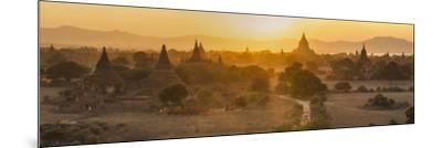 Ancient Temple City of Bagan (Also Pagan) and Ox Cart, Myanmar (Burma)-Peter Adams-Mounted Photographic Print