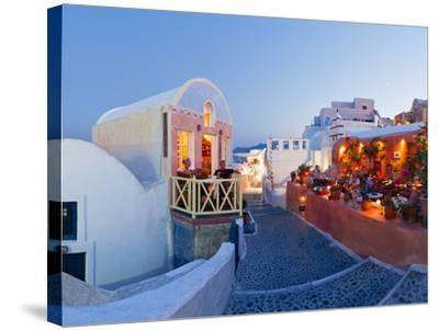 Restaurants in the Village of Oia, Santorini, Cyclades Islands, Aegean Sea, Greece, Europe-Gavin Hellier-Stretched Canvas Print