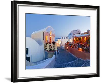 Restaurants in the Village of Oia, Santorini, Cyclades Islands, Aegean Sea, Greece, Europe-Gavin Hellier-Framed Photographic Print