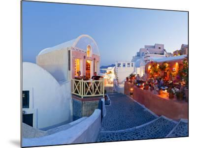 Restaurants in the Village of Oia, Santorini, Cyclades Islands, Aegean Sea, Greece, Europe-Gavin Hellier-Mounted Photographic Print