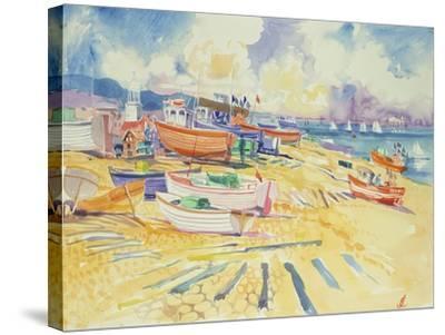 Fishing Boat Beach-Elizabeth Jane Lloyd-Stretched Canvas Print