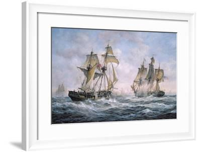 "Action Between U.S. Sloop-Of-War ""Wasp"" and H.M. Brig-Of-War ""Frolic"", 1812-Richard Willis-Framed Giclee Print"