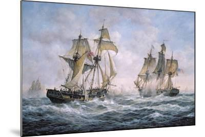 "Action Between U.S. Sloop-Of-War ""Wasp"" and H.M. Brig-Of-War ""Frolic"", 1812-Richard Willis-Mounted Giclee Print"