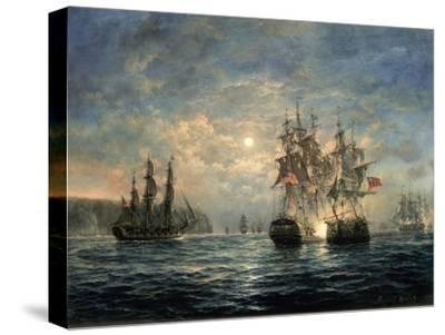 """Engagement Between the """"Bonhomme Richard"""" and the """"Serapis"""" Off Flamborough Head, 1779-Richard Willis-Stretched Canvas Print"""