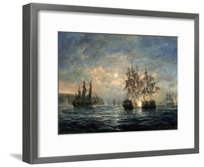 "Engagement Between the ""Bonhomme Richard"" and the ""Serapis"" Off Flamborough Head, 1779-Richard Willis-Framed Giclee Print"