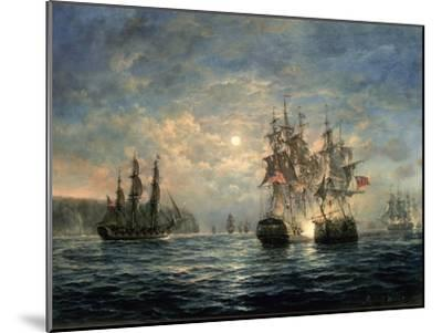 "Engagement Between the ""Bonhomme Richard"" and the ""Serapis"" Off Flamborough Head, 1779-Richard Willis-Mounted Giclee Print"