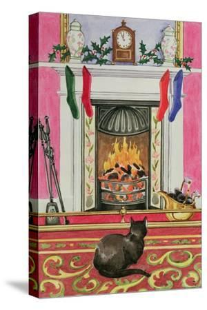 Fireside Scene at Christmas-Lavinia Hamer-Stretched Canvas Print