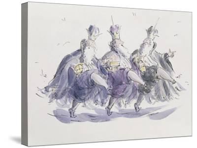 Three Kings Dancing a Jig-Joanna Logan-Stretched Canvas Print