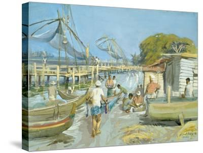 Fishing Nets Near Cochin, 1994-Tim Scott Bolton-Stretched Canvas Print
