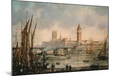 View of the Houses of Parliament from the River Thames-Richard Willis-Mounted Giclee Print