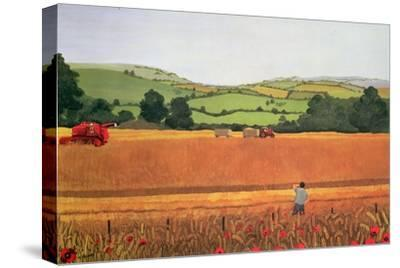 Harvesting in the Cotswolds-Maggie Rowe-Stretched Canvas Print