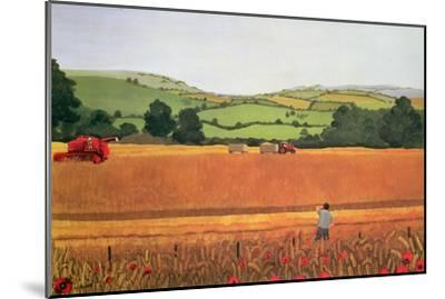 Harvesting in the Cotswolds-Maggie Rowe-Mounted Giclee Print