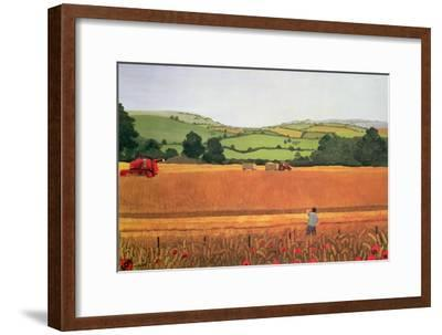 Harvesting in the Cotswolds-Maggie Rowe-Framed Giclee Print