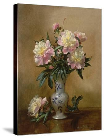 Peonies in a Blue and White Vase-Albert Williams-Stretched Canvas Print