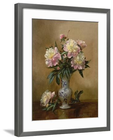 Peonies in a Blue and White Vase-Albert Williams-Framed Giclee Print