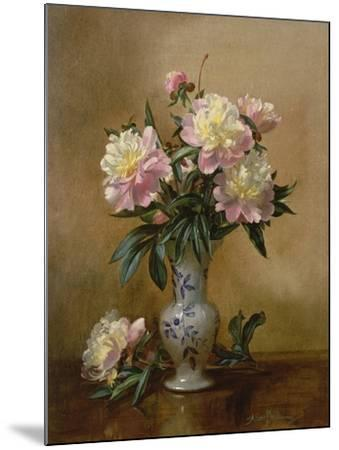 Peonies in a Blue and White Vase-Albert Williams-Mounted Giclee Print