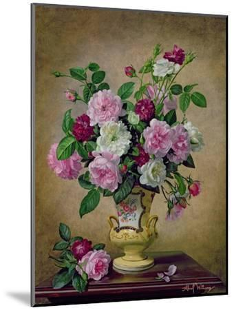 Roses and Dahlias in a Ceramic Vase-Albert Williams-Mounted Giclee Print