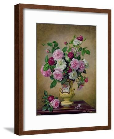 Roses and Dahlias in a Ceramic Vase-Albert Williams-Framed Giclee Print