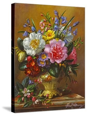 Peonies, Bluebells and Primulas-Albert Williams-Stretched Canvas Print