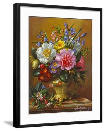 Peonies, Bluebells and Primulas-Albert Williams-Framed Giclee Print