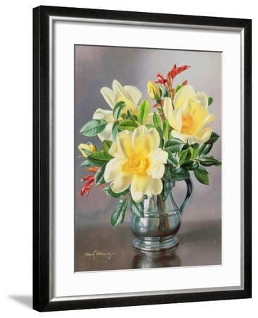 Yellow Roses in a Tankard-Albert Williams-Framed Giclee Print
