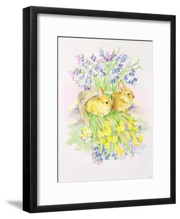 Rabbits in a Basket with Daffodils and Bluebells-Diane Matthes-Framed Giclee Print