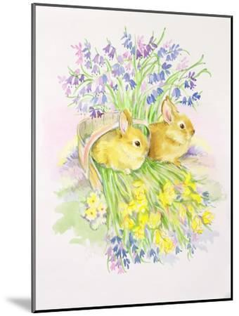Rabbits in a Basket with Daffodils and Bluebells-Diane Matthes-Mounted Giclee Print