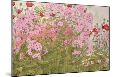 Pink Phlox and Poppies with a Butterfly-Linda Benton-Mounted Giclee Print
