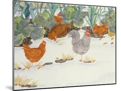 Hens in the Vegetable Patch-Linda Benton-Mounted Giclee Print