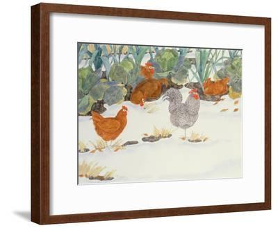 Hens in the Vegetable Patch-Linda Benton-Framed Giclee Print