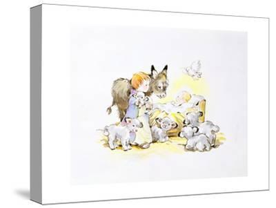 Donkey and Lambs around a Manger-Diane Matthes-Stretched Canvas Print