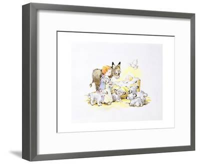 Donkey and Lambs around a Manger-Diane Matthes-Framed Giclee Print