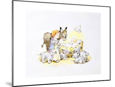 Donkey and Lambs around a Manger-Diane Matthes-Mounted Giclee Print