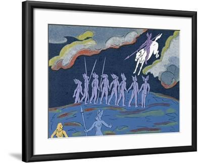 Wotan Arrives in Pursuit, Brunnhilde Sends Sieglinde to Safety: Illustration for 'Die Walkure'-Phil Redford-Framed Giclee Print