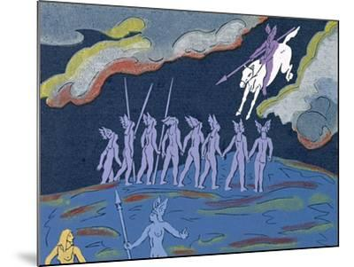 Wotan Arrives in Pursuit, Brunnhilde Sends Sieglinde to Safety: Illustration for 'Die Walkure'-Phil Redford-Mounted Giclee Print