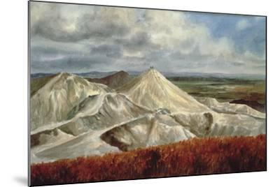 Cornish Landscape - China Clay Quarries at St. Austell-Vic Trevett-Mounted Giclee Print