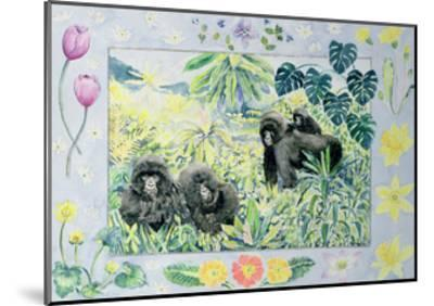 Mountain Gorillas (Month of March from a Calendar)-Vivika Alexander-Mounted Giclee Print