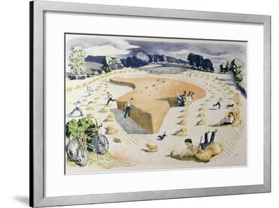 Harvesting, Printed at the Baynard Press, for School Prints Ltd.-John Northcote Nash-Framed Giclee Print