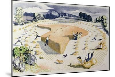 Harvesting, Printed at the Baynard Press, for School Prints Ltd.-John Northcote Nash-Mounted Giclee Print