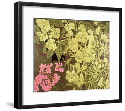 Blackbird in the Hellebores, 1992-Carol Walklin-Framed Giclee Print
