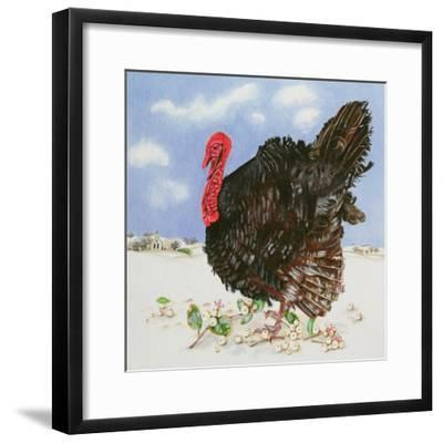 Black Turkey with Snow Berries, 1996-E.B. Watts-Framed Giclee Print