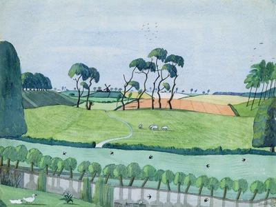 Landscape with a Windmill-John Northcote Nash-Framed Giclee Print