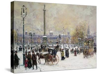 Winter's Mantle, Trafalgar Square, London-John Sutton-Stretched Canvas Print