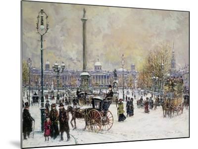 Winter's Mantle, Trafalgar Square, London-John Sutton-Mounted Giclee Print