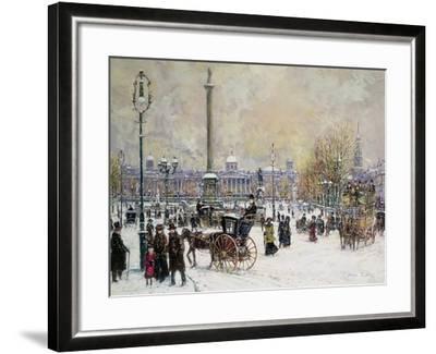Winter's Mantle, Trafalgar Square, London-John Sutton-Framed Giclee Print