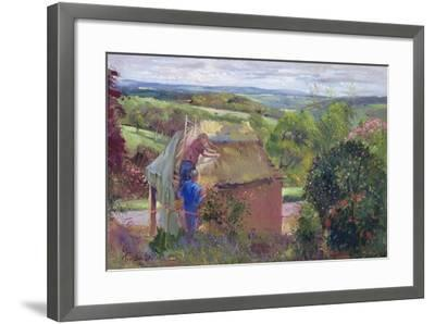 Thatching the Summer House, Lanhydrock House, Cornwall, 1993-Timothy Easton-Framed Giclee Print
