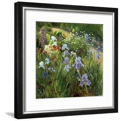 Irises and Oxeye Daisies, 1997-Timothy Easton-Framed Giclee Print