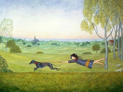 Walking the Dog-Ditz-Framed Giclee Print