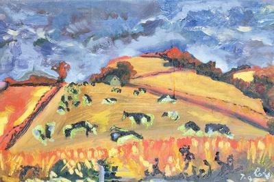 Sun, Fields, Cows: Somerset, 1998-Robert Hobhouse-Framed Giclee Print